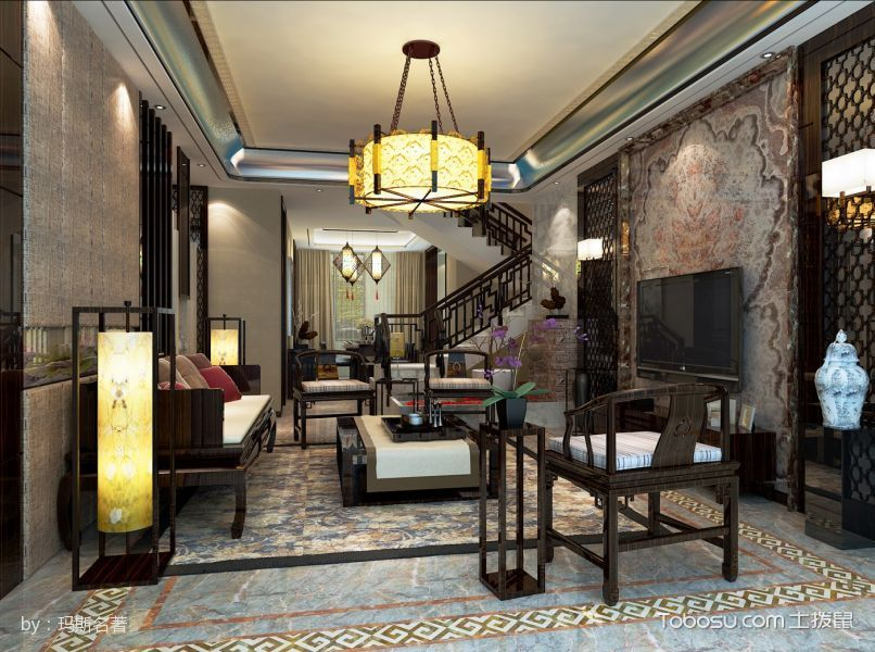 新中式家居别墅装修效果图