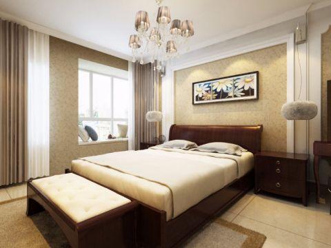 卧室背景墙现代中式风格装修设计图片