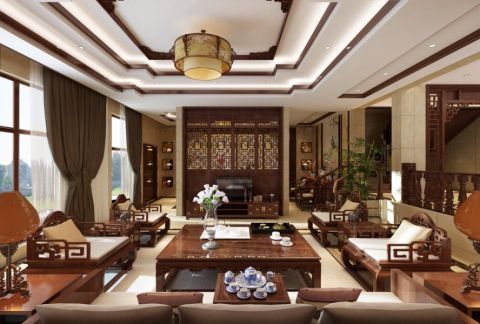 中式古典精致别墅装修效果图