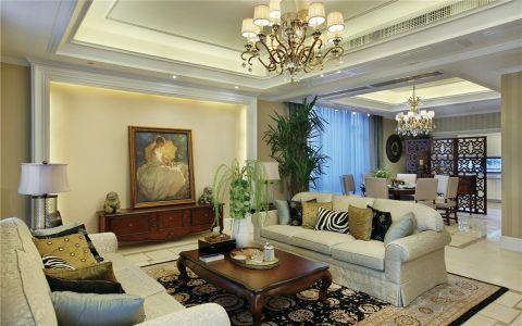130平米美式混搭风格三居室装修图