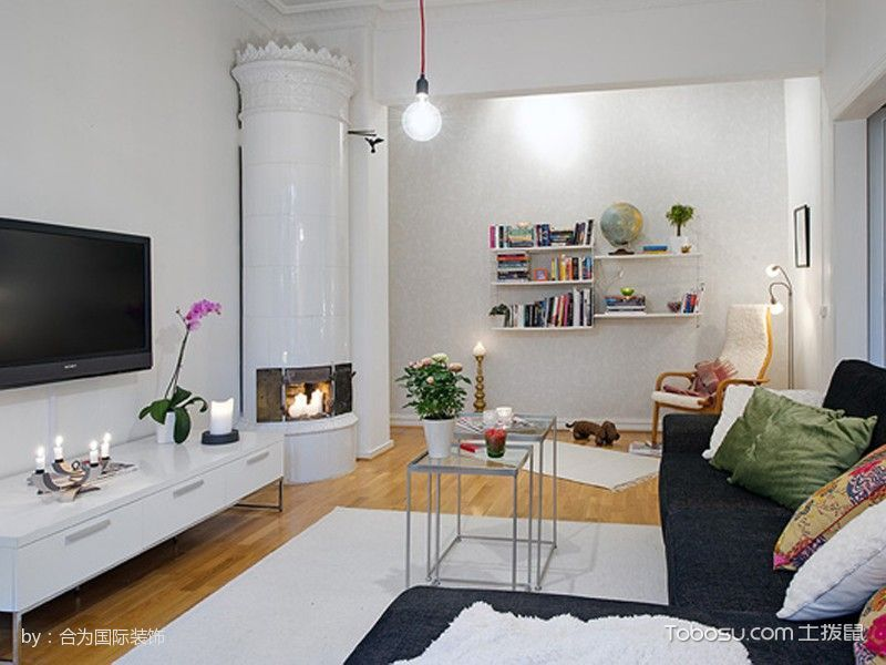 客厅白色电视柜北欧风格效果图