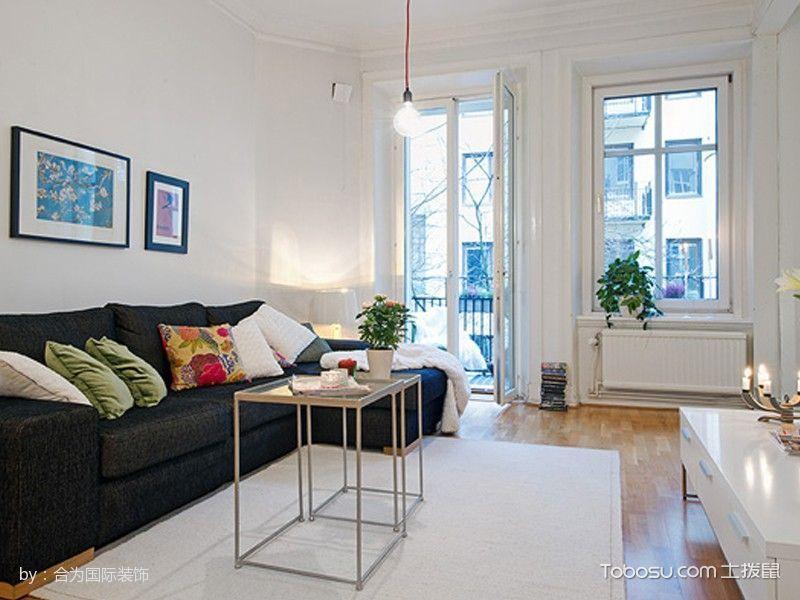 客厅黑色沙发北欧风格装修效果图