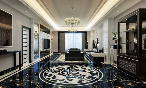 国宾一号大平层黑白现代风四居室装修图
