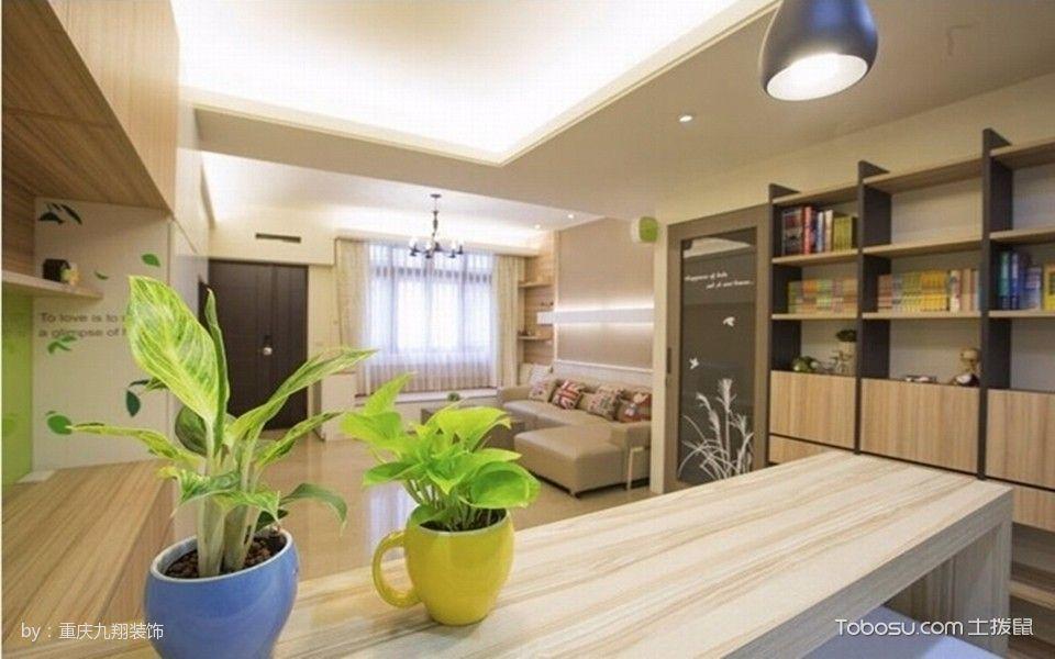 浅色木质现代休闲三居室装修设计图