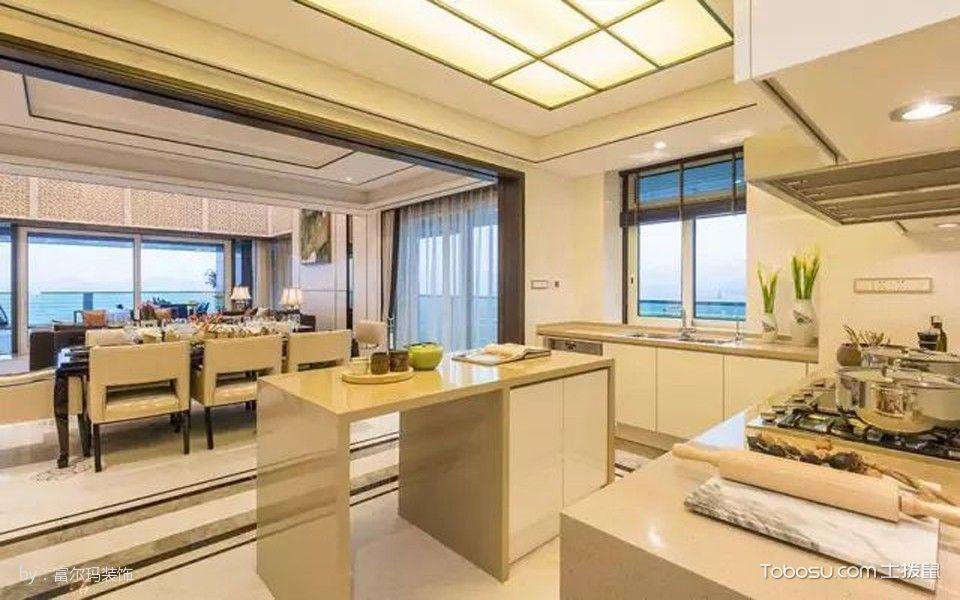 厨房白色吧台新中式风格效果图