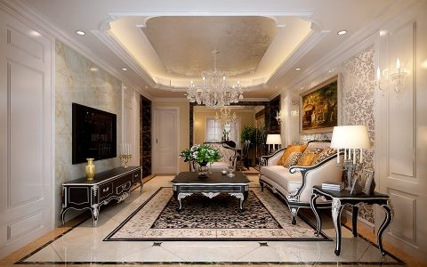 万科蓝山三室两厅户型简约欧式风格装修效果