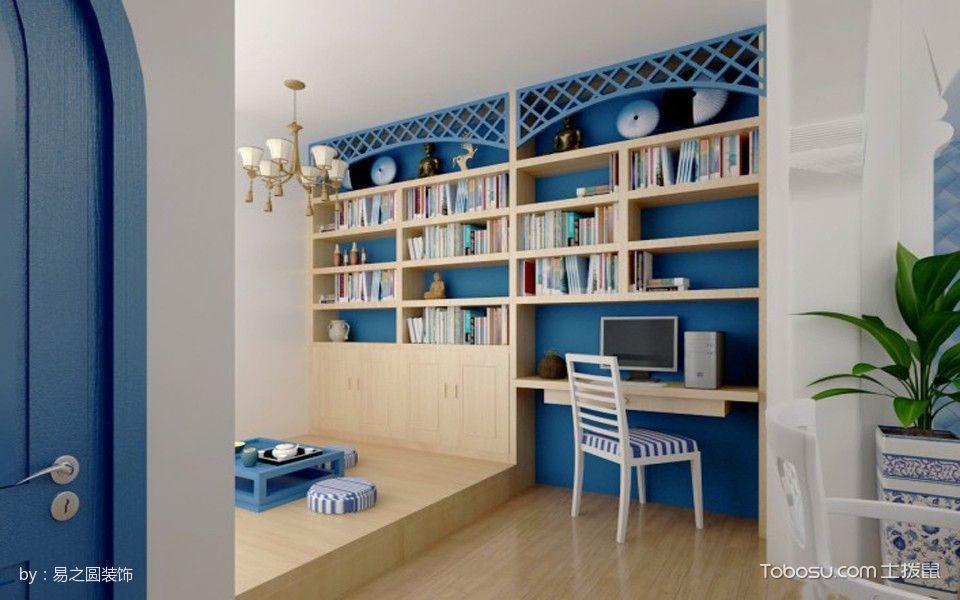 书房黄色榻榻米地中海风格装饰图片
