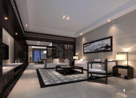 星河丹堤220平方复式楼中式风格装修效果图