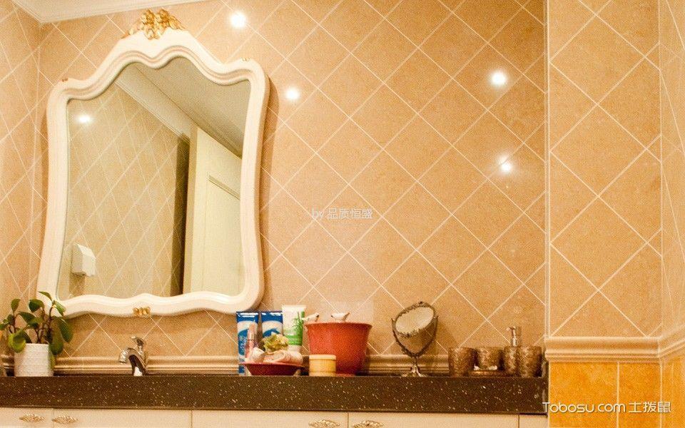 卫生间黄色背景墙欧式风格装潢效果图