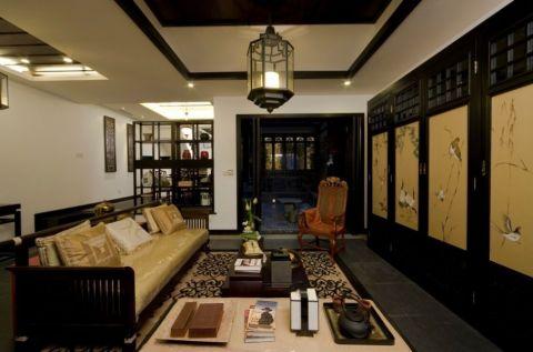中式风庭院四居室装修案例图