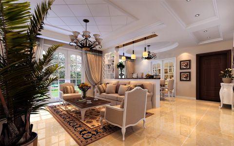 客厅吊顶简欧风格装潢效果图