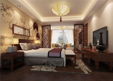 淮矿东方蓝海117平中式风格三居室装修效果图