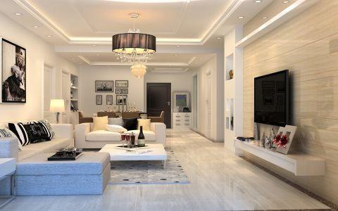 仙河苑142平米现代简约白色系三居室装修效果图