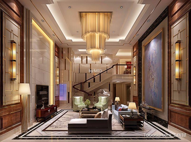 南宁华凯顶层复式家居中式新古典风格装修效果图
