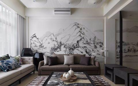 保利爱尚里现代中式三居室效果图