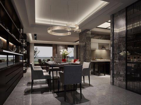 餐厅吊顶现代中式风格装潢效果图