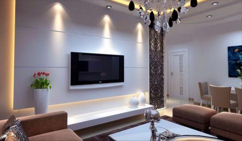 高贵风雅现代简约白色背景墙装饰实景图