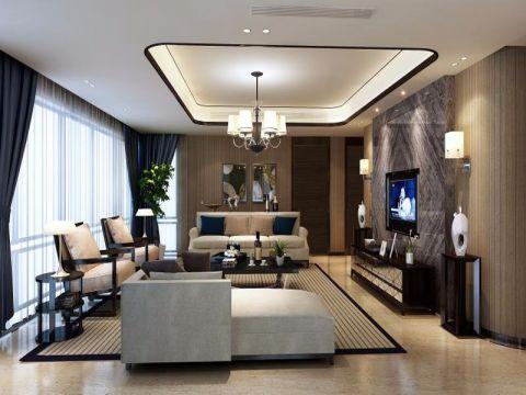 吴山名苑现代中式风格三居室装修图