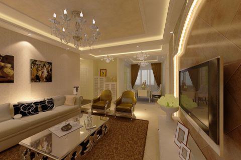 简欧风格三室两厅装修案例图