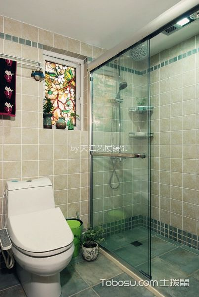 卫生间绿色隔断混搭风格装饰设计图片