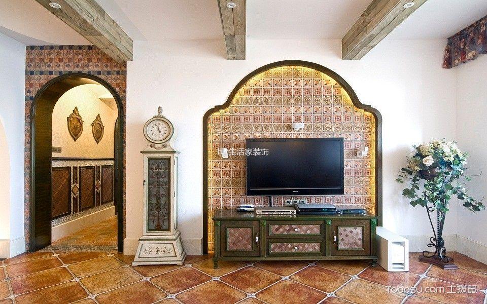 客厅米色背景墙东南亚风格装修效果图