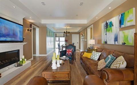 美式混搭风格多彩四居室装修效果图