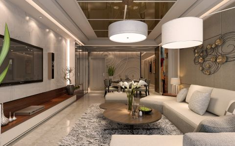 晓港名城六期134平港式简约风格家装设计效果图