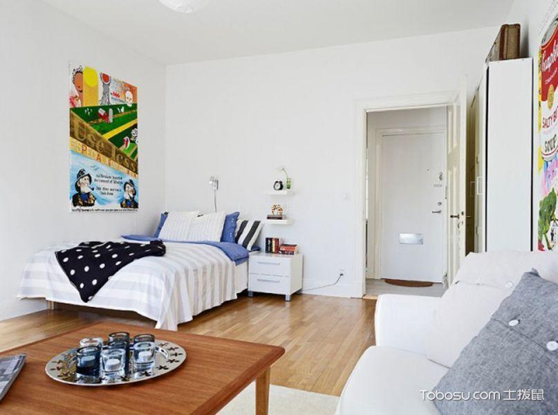 卧室白色床头柜北欧风格装修设计图片