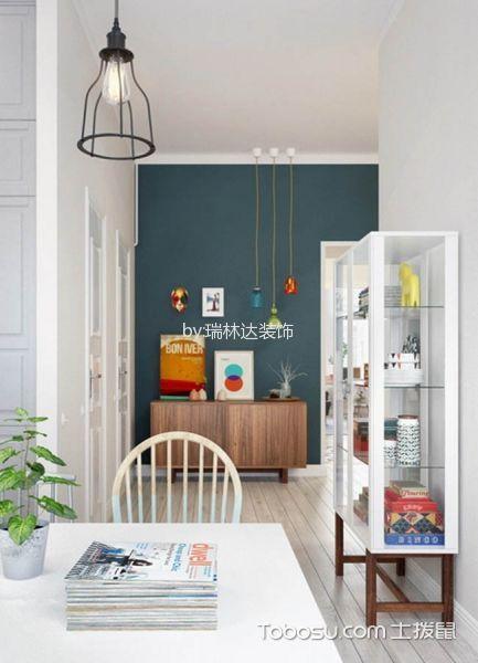 书房白色书桌北欧风格装饰图片