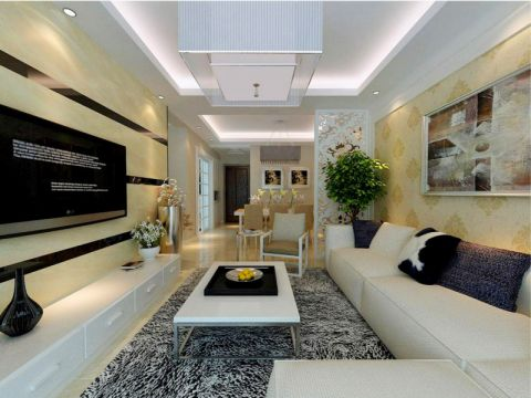 华润橡树湾现代简约风格二居室装修设计图