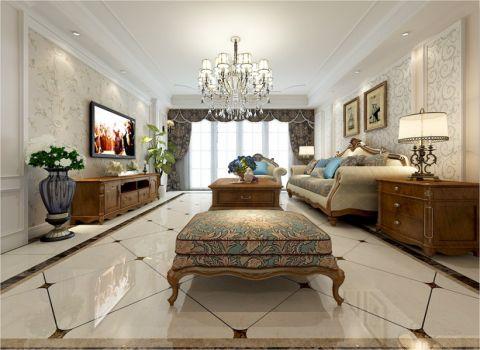 华地紫园200平简美式风格效果图案例