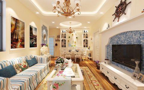 国贸天域混搭地中海风格三居室装修图
