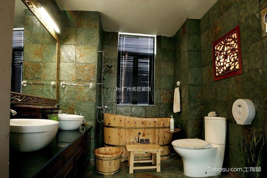 卫生间绿色背景墙东南亚风格装饰图片