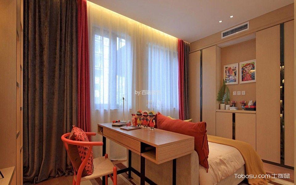 儿童房红色窗帘新中式风格装潢效果图