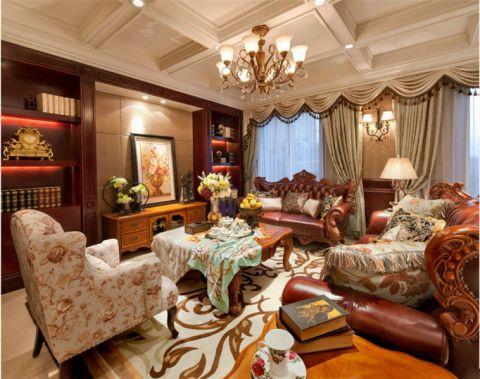 美式复古豪华风格两居室装修效果图