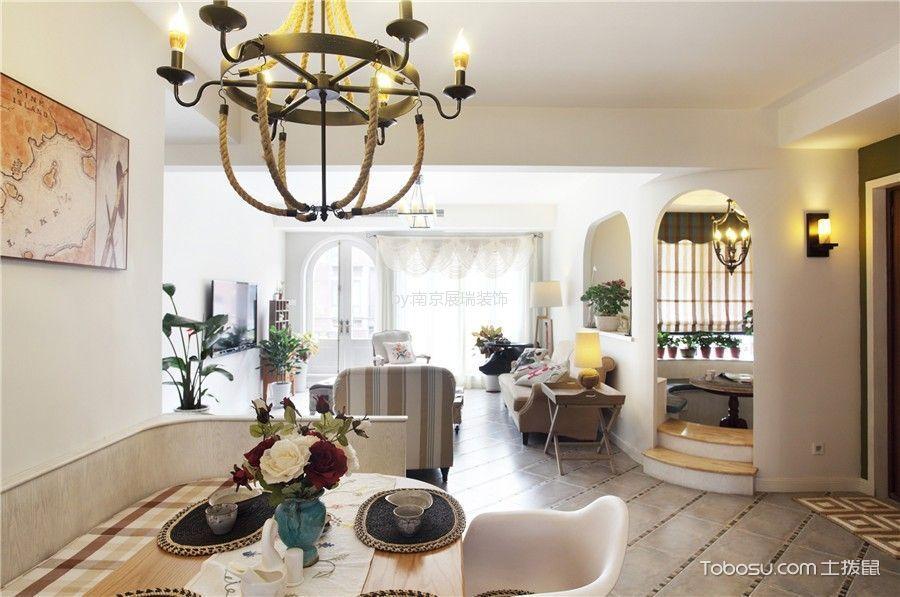 客厅白色隔断地中海风格装修设计图片