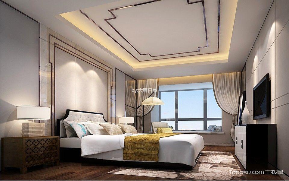 卧室白色窗帘新中式风格装饰图片