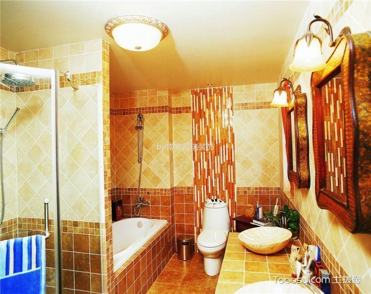 卫生间黄色背景墙东南亚风格装修效果图