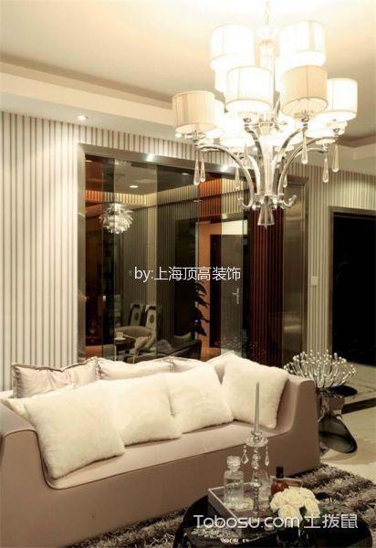 客厅白色灯具现代风格装饰设计图片