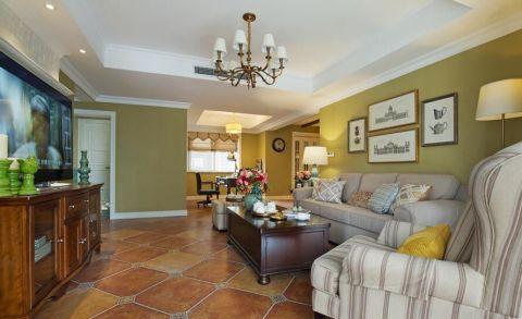绿色清新美式二居室装修案例图片