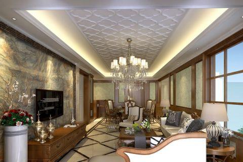 万春新苑美式风格三居室家庭设计效果图