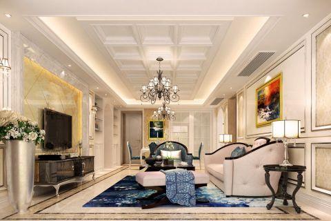 华强广场简欧风格三居室家庭设计效果图