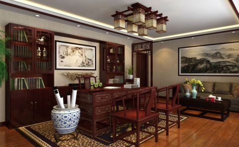 古香新韵的餐厅。入户处的中式花架与背景墙的花格相呼应,显得格外的典雅。集聚现代风格的新中式餐桌椅使得空间更有线条感,搭配欧式的餐具和简单的水晶灯,将古香新韵体现的淋漓尽致