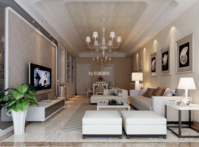 华府庄园117㎡现代简欧风三居室装修设计