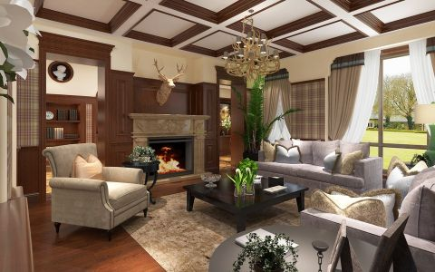 花园洋房美式复古风格设计案例