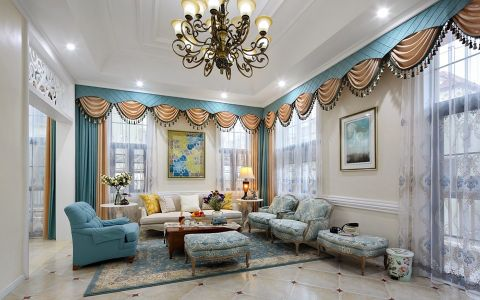 彩色300平米美式混搭风格别墅装修效果图2017图片