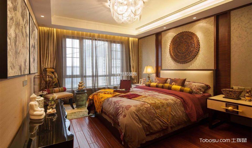 卧室黄色窗帘新中式风格装潢图片