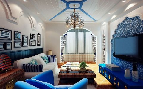 地中海现代风格三居室装修图
