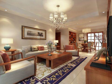 祥源城120平现代中式风格三居室效果图案例