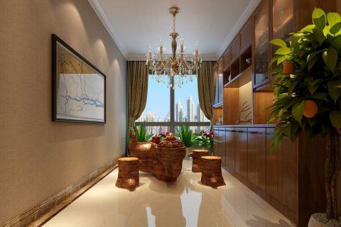 华强广场新中式风格大户型家居设计案例效果图